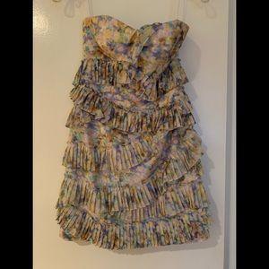 Cynthia Steffe pastel ruffle sheath dress. Size 0